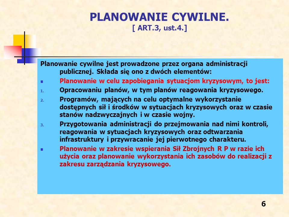 PLANOWANIE CYWILNE. [ ART.3, ust.4.]